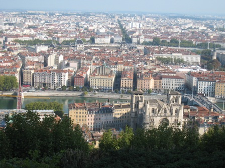 View of Vieux Lyon, Cathedral St-Jean, Soane River, Presque&#039;Isle and more modern Lyon in the distance.